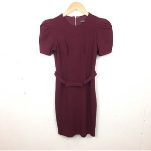 Express Maroon Zip Puff Sleeve Belted Dress XS